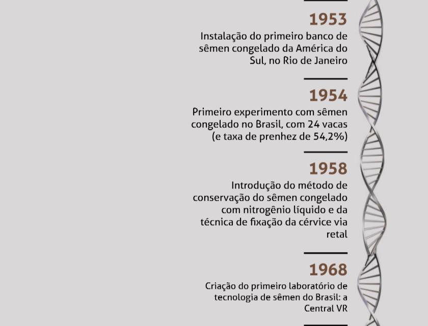 1954 - Primeiro experimento com sêmen congelado no Brasil, com 24 vacas (e taxa de prenhez de 54,2%)