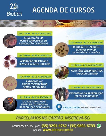 Agenda de cursos Biotran em Reprodução Bovina